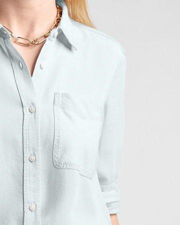Patch Pocket Long Sleeve Denim Shirt