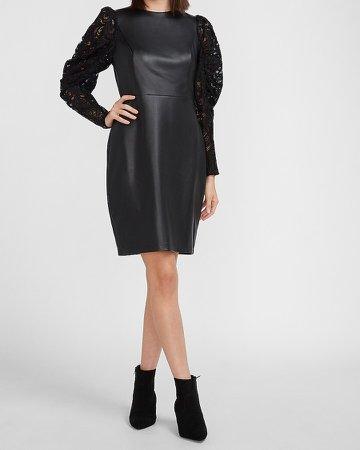 Vegan Leather Lace Puff Sleeve Dress