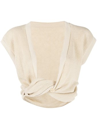Jacquemus twist-detailing knitted crop top 211KN28211210800 - Farfetch