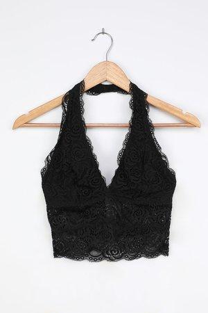 Black Lace Bralette - Halter Bralette - Sexy Floral Lace Bra - Lulus