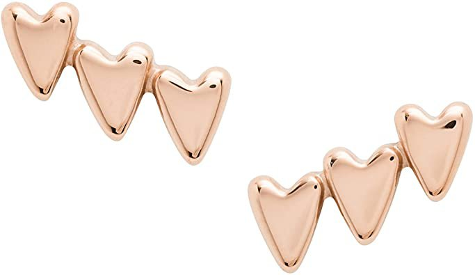 """Amazon.com: Fossil Stacked Hearts Rose Gold-Tone Stainless Steel Climber Earrings, L 3/10"""" x W1/5"""": Jewelry"""