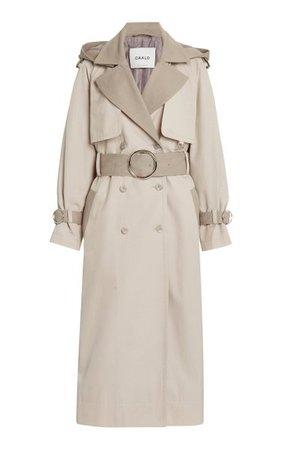Two-Tone Cotton-Blend Trench Coat By Caalo   Moda Operandi