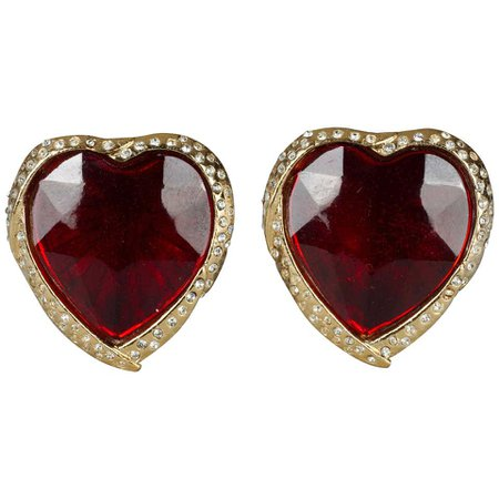 Vintage YVES SAINT LAURENT Ysl Red Faceted Heart Rhinestone Earrings For Sale at 1stDibs