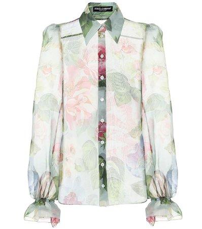 Dolce & Gabbana - Floral silk-chiffon blouse   Mytheresa
