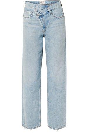 AGOLDE | Criss Cross Upsized distressed high-rise wide-leg jeans | NET-A-PORTER.COM