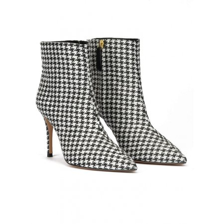 Houndstooth print point-toe heeled ankle boots . PURA LOPEZ