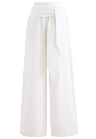 Self-Tie Waist Knit Wide-Leg Pants in White - Retro, Indie and Unique Fashion
