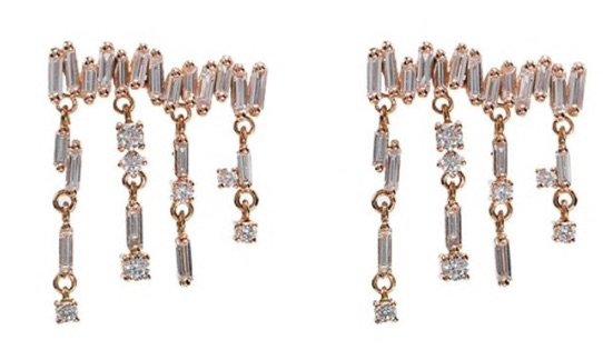 SUZANNE KALAN 18kt Rose Gold Diamond Baguette Drop Earrings
