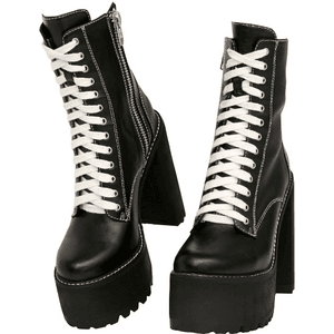 Black Boots With White Shoe Strings PNG