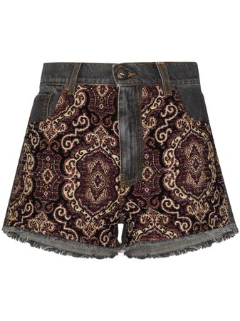 Shop blue & purple Etro embroidered-panel denim shorts with Express Delivery - Farfetch