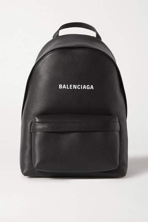Everyday Printed Textured-leather Backpack - Black