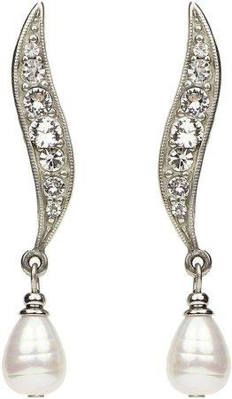 Elegance Glass Pearl & Crystal Drop Earrings