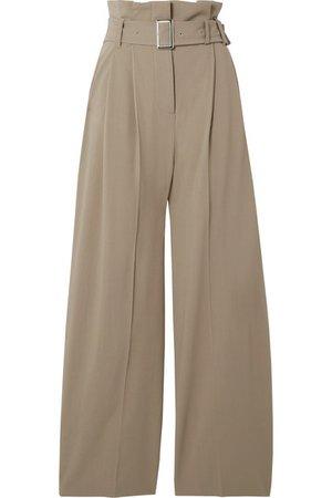 Burberry | Belted grain de poudre wide-leg pants | NET-A-PORTER.COM