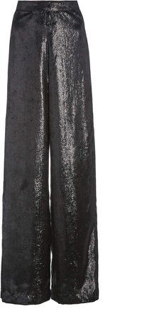 Rodarte Metallic Velvet Wide-Leg Pants