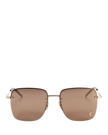 Saint Laurent Half-Rim Square Logo Sunglasses | INTERMIX®