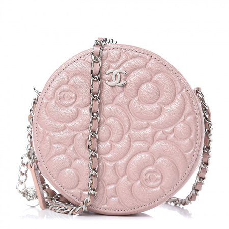 CHANEL Goatskin Camellia Quilted Round Clutch With Chain Light Pink 405251