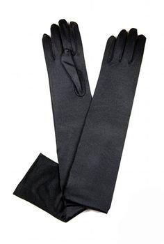 Vintage Style Satin Long Opera Evening Glove - Ebony Black