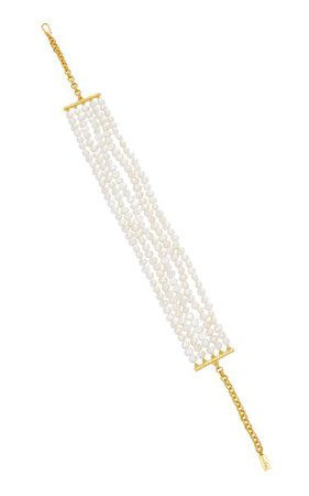 Rilla Gold-Plated Pearl-Embellished Necklace By Valére | Moda Operandi