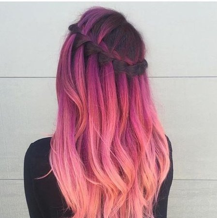 Dyed Hair Waterfall Braid