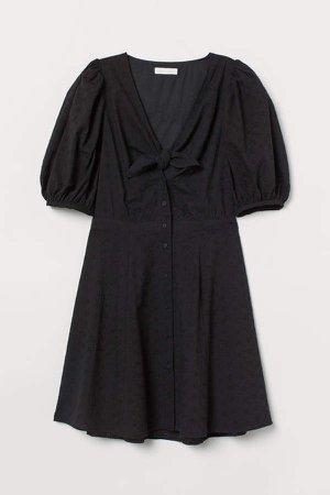 Eyelet Embroidered Dress - Black