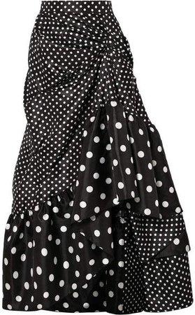 Richard Quinn - Ruched Polka-dot Taffeta Midi Skirt - Black
