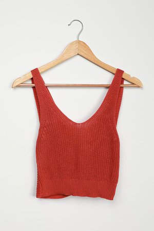 Cute Marsala Tank - Knit Tank Top - Twist Back Tank Top