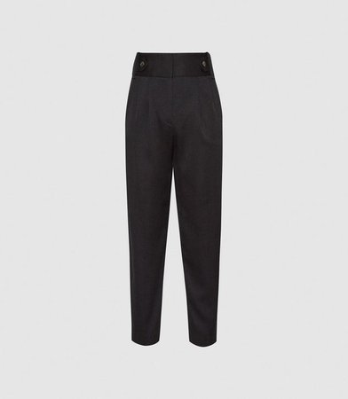 Stanton Black Cropped Tapered Trousers – REISS