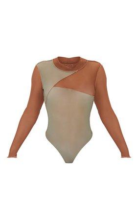 Khaki Mesh High Neck Patchwork Long Sleeve Bodysuit | PrettyLittleThing USA