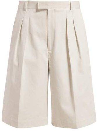 Pleated Cotton Bermuda Shorts - Womens - Ivory