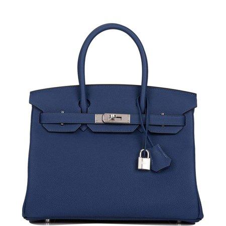 Hermes Deep Blue Togo Birkin 30cm Palladium Hardware – Madison Avenue Couture