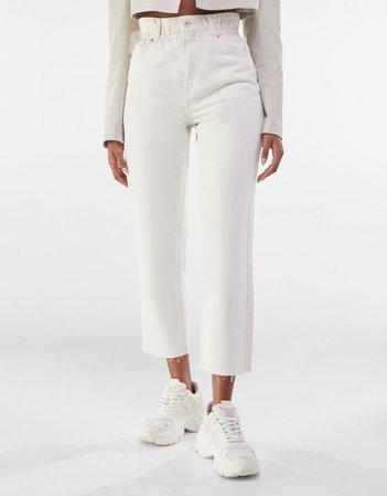Twill cropped straight fit pants - Pants - Woman | Bershka