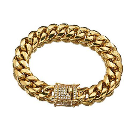 Jxlepe Mens Miami Cuban Link Chain 18K Gold 15mm Stainless Steel Curb Necklace with cz Diamond Chain Choker (10) | Amazon.com
