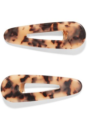 Valet | Set of two Kelly tortoiseshell resin hair clips | NET-A-PORTER.COM