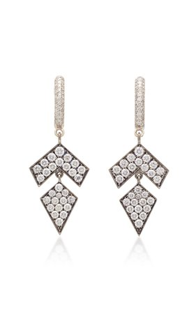 Busatti Arrow 18K White Gold And Diamond Earrings