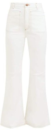 Contrast Stitch High Rise Flared Jeans - Womens - Ivory