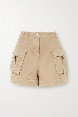Cotton-blend Drill Shorts - Beige