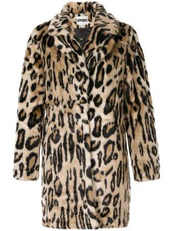 Brown Apparis Lana leopard faux-fur coat LANA - Farfetch
