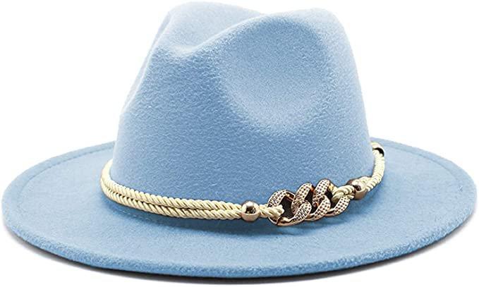 Gossifan Lady Fashion Wide Brim Felt Fedora Panama Hat with Ring Belt A-White at Amazon Women's Clothing store