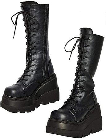 Amazon.com: Womens High Platform Mid Calf Wedges Chunky High Heel Round-Toe Side Zip Fanshion Combat Boots For Women: Shoes