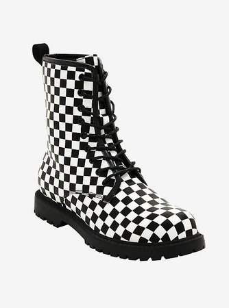Black & White Checkered Combat Boots