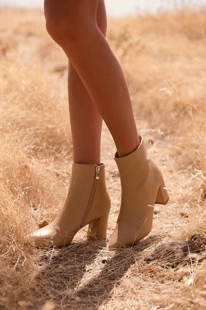 Chic Nude Boots - Pointed-Toe Boots - Vegan Leather Ankle Boots