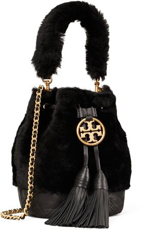 Fleming Soft Shearling Mini Bucket Bag