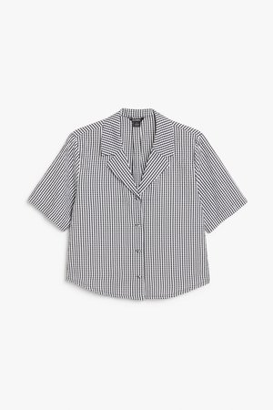 Cropped shirt blouse - Black and white gingham - Shirts & Blouses - Monki WW