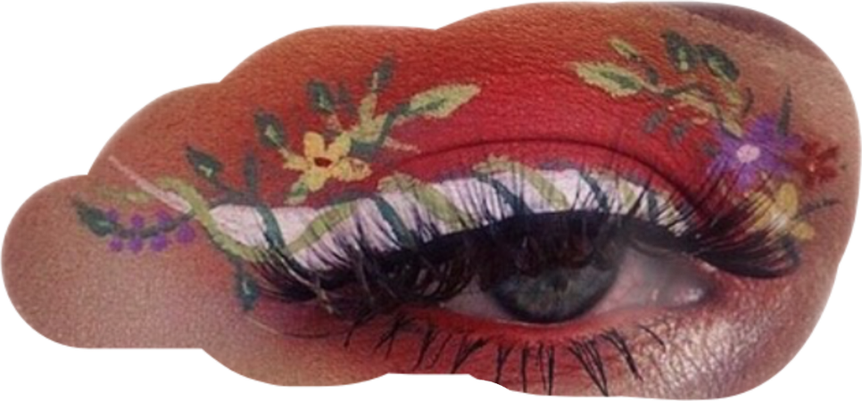 eye makeup flowers leaves aesthetic freetoedit...