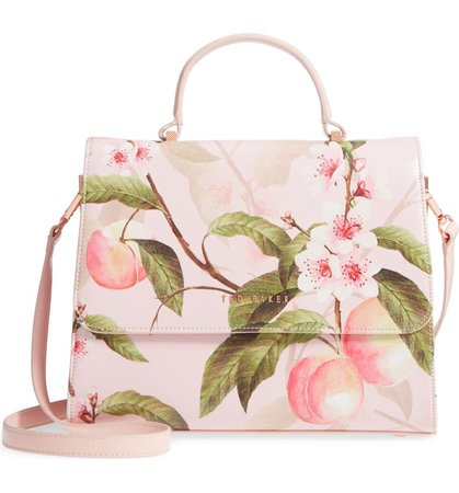 Ted Baker London Dipelta Peach Faux Leather Satchel | Nordstrom