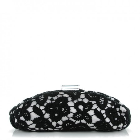 CHANEL Lace Timeless Perfume Bottle Top Clutch Black White 157386