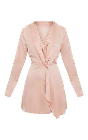 Nude Satin Long Sleeve Wrap Dress   Dresses   PrettyLittleThing