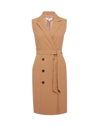 Petite Camel Trench Dress | Dorothy Perkins