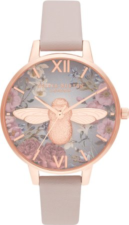 British Blooms Faux Leather Strap Watch, 34mm