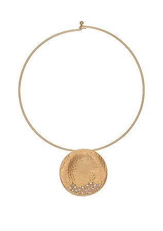 Erica Lyons Gold Tone Coil Necklace with Hammered Disc Pendant